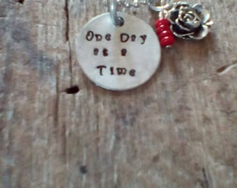One Day at a Time handstamped necklace