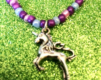 Unicorn Charm necklace beaded in pink purple and blue ladies jewellery gifts for her unicorn gift
