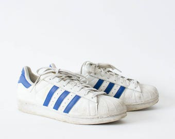 Vintage 90's Adidas Superstar Trainers Laced White Leather Men's UK 8.5