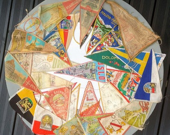 Vintage Caravan, Camping, Travel, European Pennants, Souvenir, 1960's. Collection of 29.