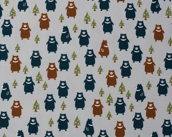 SALE | Japanese bear fabric by Kokka in blue oxford cotton - 1/2 YD