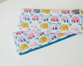"Sloth pencil case | 9.75""x3.5"" | sloth gifts | turquoise blue, pink | long zipper pouch | crochet hook case | long pencil pouch | gift idea"