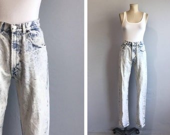 Vintage 80s Jeans / 1980s Calvin Klein High Waist Straight Leg Acid Wash Denim