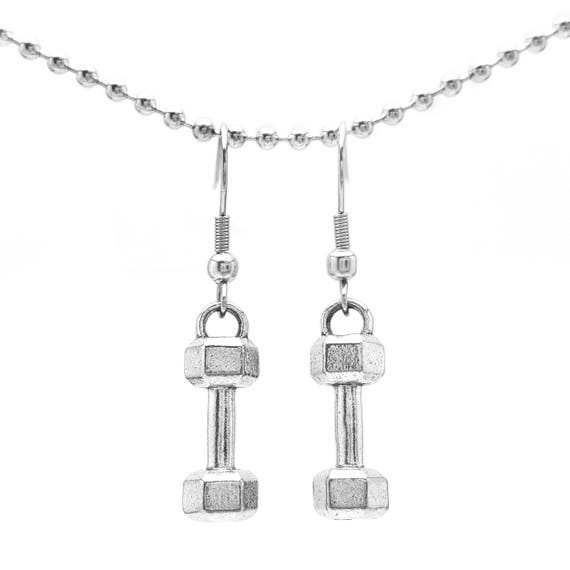Mini Dumbbell Earrings - Nickel Free Fitness Jewelry - Gym Accessories - Workout - Lifting - Barbell Earrings