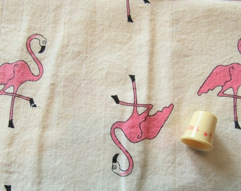 pink flamingos novelty print vintage cotton fabric -- 45 wide by 1 yard