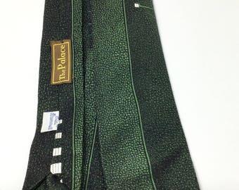 Vintage Beau Brummell necktie green black acetate rayon 40s 50s era