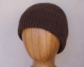 Yak Fiber Hat, Dark Brown, Beanie Hat, Watch Cap, Luxury Knit, Natural Fiber, Mens Hat, Ribbed Hat