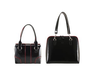 Leather shoulder bag BORBALA small, GABRIELLA large // black creased patent, red piping (Italian calf skin) - FREE shipping, unique