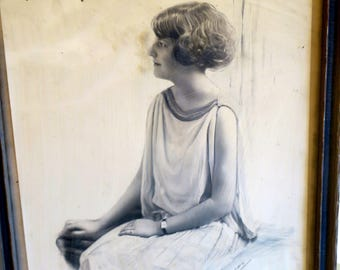 Photo of the famous Mary Gregory 1922 signed by Photographer framed under glass Antique Frame 9 x 11""