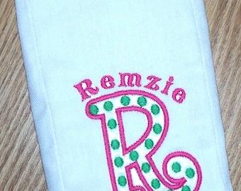 Baby Girl  Monogrammed Polka Dot Burp Cloth Personalized