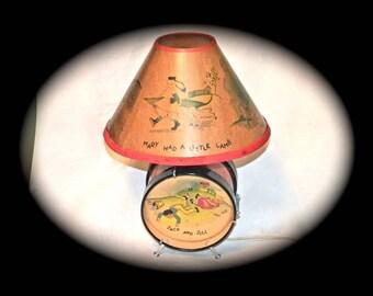 Econolite Drum Nursery Rhyme Lamp 1949  Lamp Original Shade