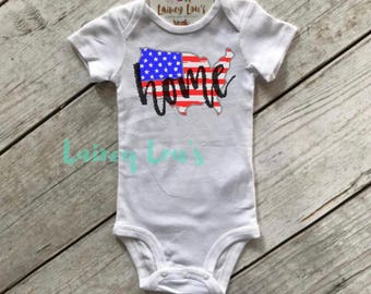 Home Fourth of July Bodysuit - Fourth of July Top - USA Top - Red White and Blue Top - Independence Day Top