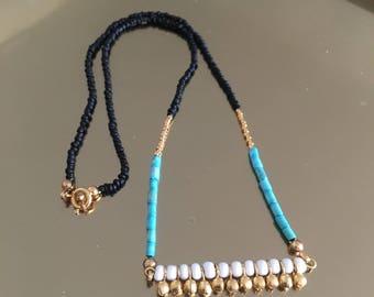 VISHNU - Collier fin • collier coloré • collier doré • collier turquoise • collier boho • collier chic • collier ethnique