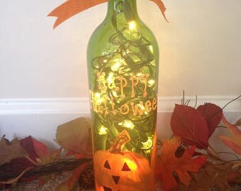 Hand Painted Jack-o-Lantern Wine Bottle with Lights