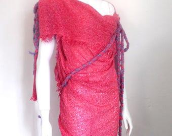 BURBO 'Broken Mirror' sheer wool dress.
