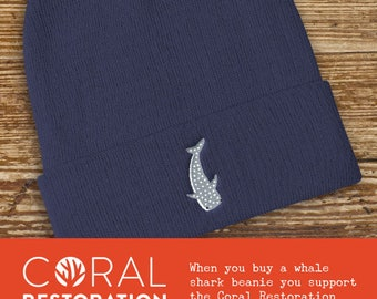 Whale Shark Knit Beanie, 60 Cotton 40 Acrylic - winter knitted hat, shark apparel