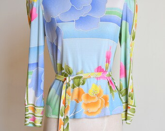 80s Leonard Paris silk jersey knit floral belted top
