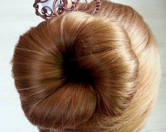 A pair of Pearl Hair sticks, hair fork, copper hair pin, metal hair fork,  boho bun pin, wire wrap hair accessories, long hair stick Bridal