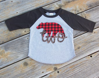 Bear Second Birthday Shirt, Wilderness Birthday, Second Birthday Raglan