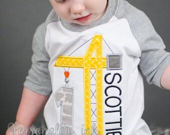 Crane Birthday Shirt - Construction Birthday Shirt - Boys Construction Shirt