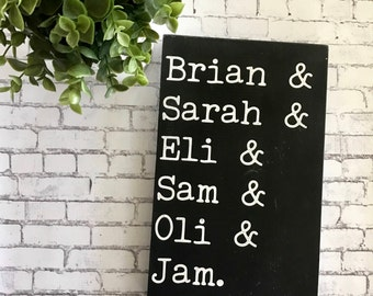 Farmhouse inspired Family Sign. Personalized family plaque. perfect for blended families.