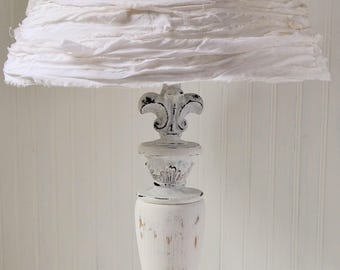Tall Table Lamp Hand Painted White Distressed White Silk Rag Ribbon Shade Shabby Cottage Victorian Upcycyclesisters