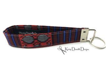 Kente Key Fob / African Key Fob / Short Lanyard / Handmade Keychain / Ankara Fabric / Key chain / Key fob Wristlet / Afrocentric Wax Print