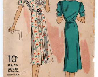"""1930's DuBarry One-Piece Day or Evening Gown - Bust 34"""" - No. 1927B"""