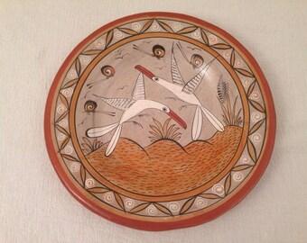 R. Mateos Vintage Art Pottery Plate Seagulls Bird Snails Beach Mexican Hand Painted Folk Art