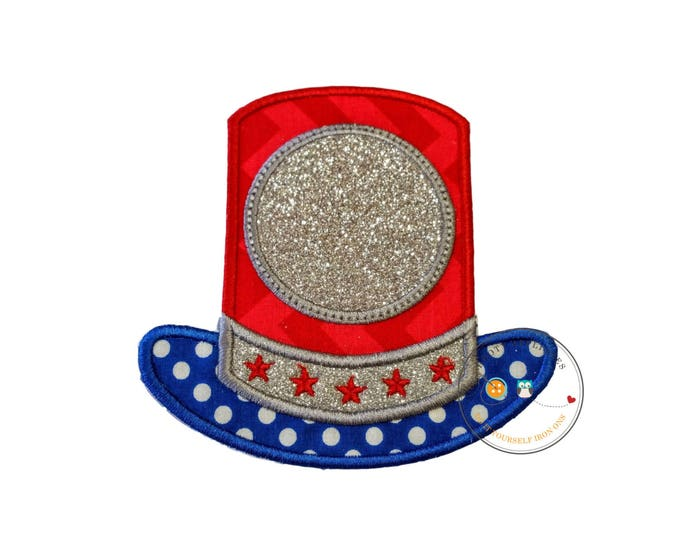 Glitter Uncle Sams top hat iron on applique, July 4th embroidered fabric applique, monogram red, white and blue top hat