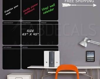 Large Chalkboard Calendar, Vinyl Wall Decal, Weekly Planner, Blackboard Decal, Chalkboard Sticker, Blackboard Calendar, Free Shipping  419P
