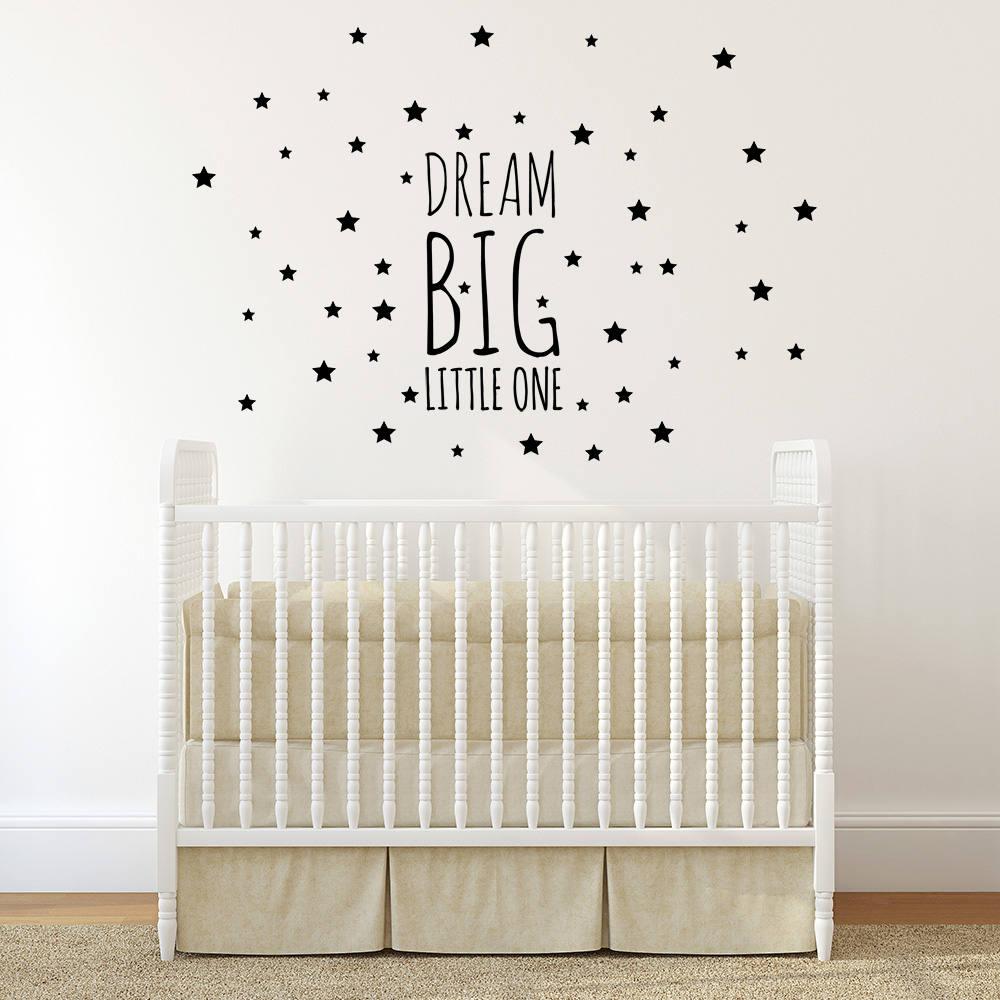 Dream Big Little One Wall Decal Kids Room Decor 100 Stars