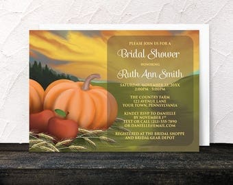 Autumn Harvest Bridal Shower Invitations - Rustic Country Orange Pumpkin and Red Apples with Hay Farm or Fields design - Printed Invitations