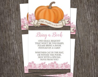 Pumpkin Bring a Book Cards - Little Pumpkin Rustic Wood Orange Pink and Brown for Autumn - Printed Cards