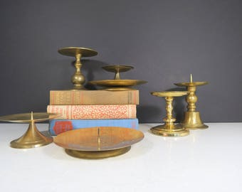Mid Century Candleholders Set // Vintage Set of Seven Brass Pillar Votive Candle Holders Modern Home Decor Instant Collection Retro Mod