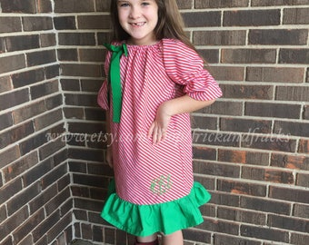 Candy Cane Dress, Christmas Dress, Christmas outfit, Candy Cane Peasnt Dress, Dress with Monogram, Personalized Christmas Dress, Baby, Girl