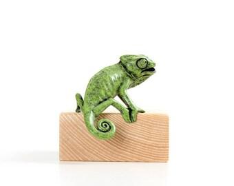 Chameleon, juvenile. 'Agape'. Limited edition bronze