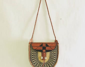 Vintage Woven Leather and Rattan Bag