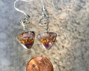 Cacoxenite Super Seven Herkimer Diamond Silver  Wrapped Earrings