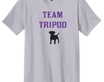 Team Tripod Shirt, 3 Legged Dog Shirt, Disabled Dog, Tripod Dog, District Threads, Direct to Garment, Men's Dog Shirt, Silver Shirt