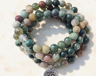Moss Agate 108 Mala Wrap Bracelet or Necklace, brass OM charm