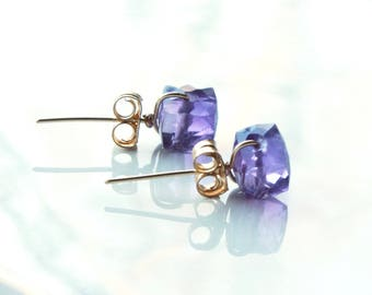 Amethyst Stud Earrings, Goldfilled wire wrap, rich purple gemstone studs, simple minimalist, holiday gift for her, February birthstone, 4463