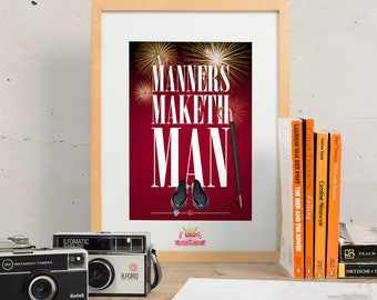Manners Maketh Man - Kingsman: The Secret Service Small Print A5 Postcard ||| Eggsy Harry Hart Colin Firth Taron Egerton Film Typography