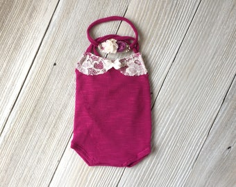 Plum Pink and Lace Newborn Romper Photo Prop SET with Headband - Newborn Baby Girl - Ready to Ship