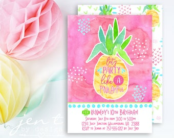 Pineapple Invitations / Party Like a Pineapple / Birthday Invitations / Luau Invitations