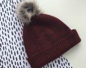 SALE Luxury lambswool & faux fur bobble hat in *CINNAMON*