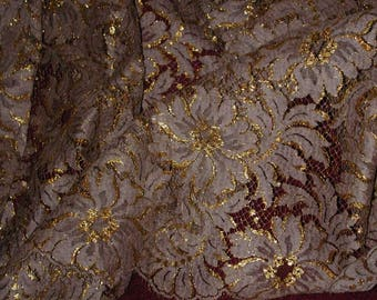 """No. 100 Gold Metallic and Taupe Chantilly Lace; 5 Yards and 29"""" x 34"""" Double Scalloped"""