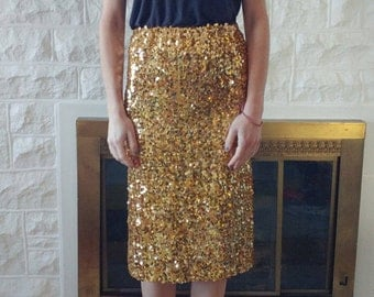 Gold sequin skirt (handmade) Estimated size XS or S