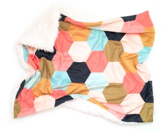 Baby Blanket Coral Jubilee Hexagons. The Cloud Blanket. Faux Fur Baby Blanket. Minky Baby Blanket. Coral Baby Blanket.