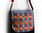 Denim Messenger Bag Upcycled Colorful Indian Embroidery Handmade Unique